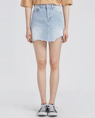 light blue unbalance cutting denim skirt