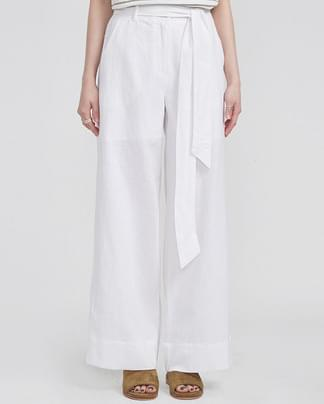 strap point wide linen pants (2 colors)