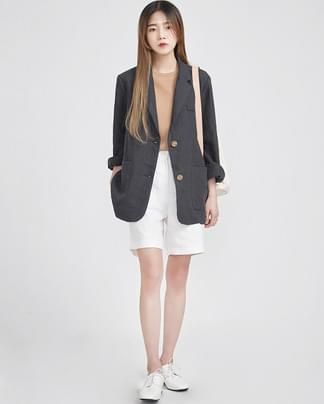natural fit daily linen jacket (3 colors)