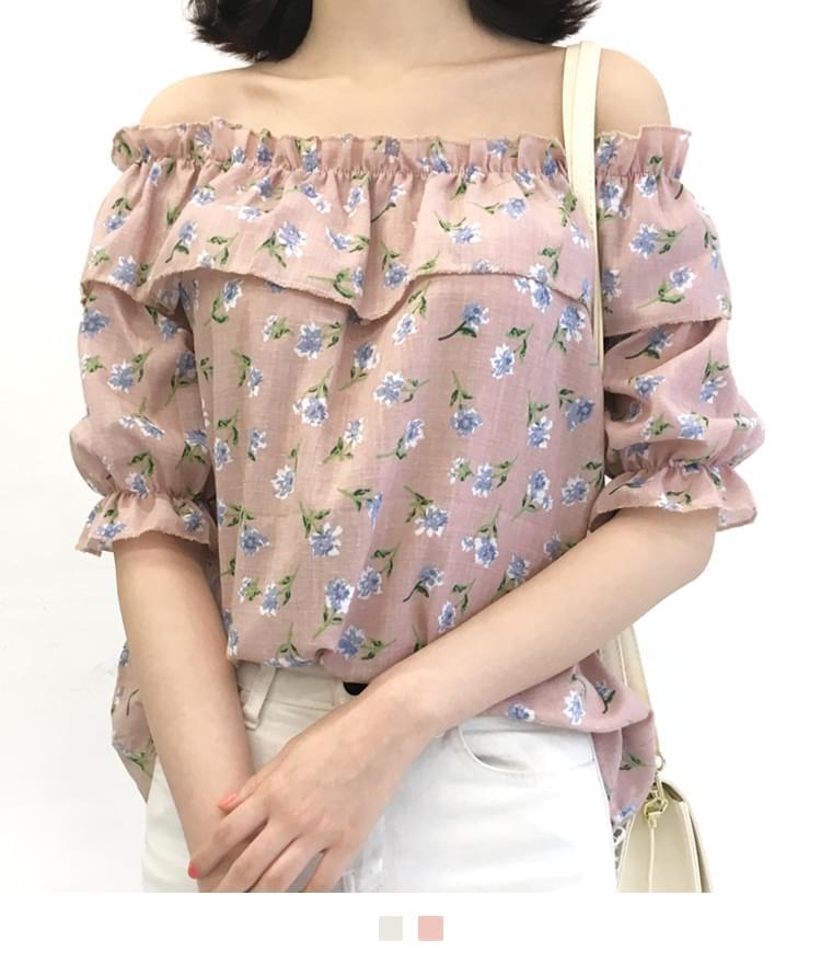 Flower ruffle off shoulder blouse