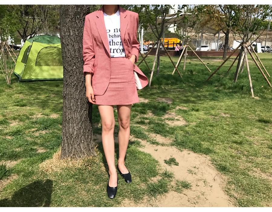Avec vintage check skirt_S (size : S,M)