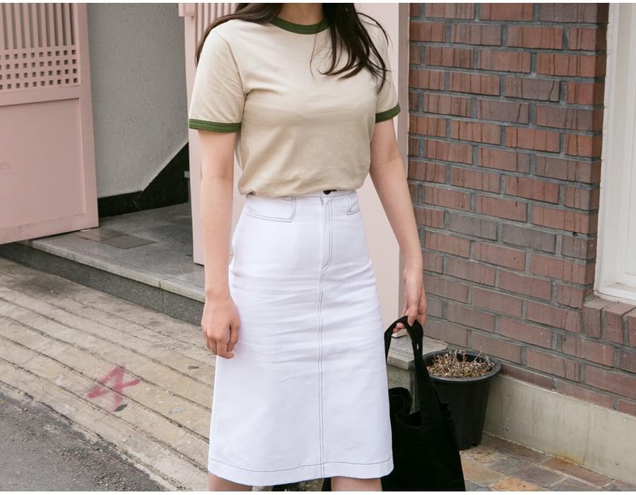 Tangerine stitch H line skirt_K(size : S,M)