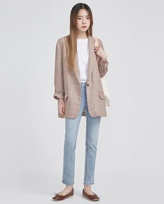 linen check single jacket (2 colors)