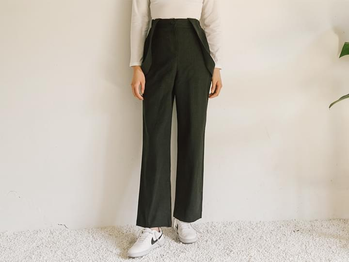 SUSPENDER SET LINEN HIGH PANTS