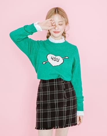 school 체크 skirt