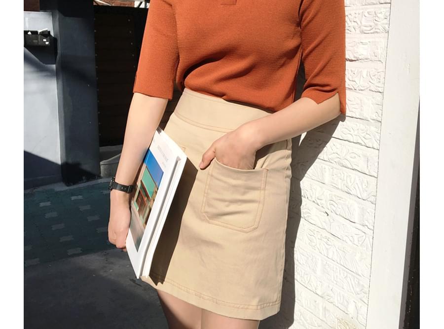 Made_bottom-102_stitch cotton skirt (size : S,M)
