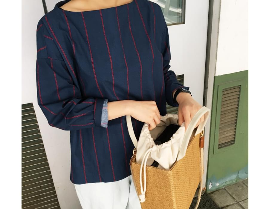 Made_top-168_vertical round blouse (size : free)