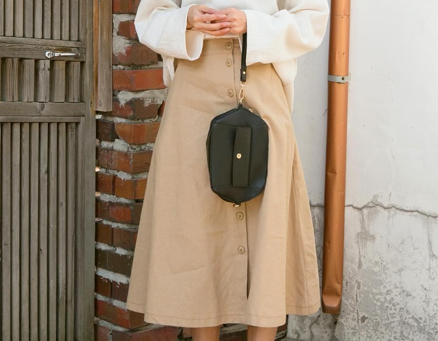Ohio linen button skirt_K (size : free)