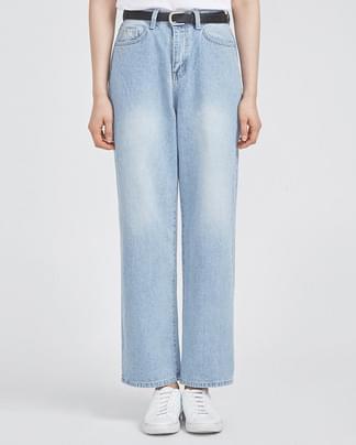 sky blue wide denim pants