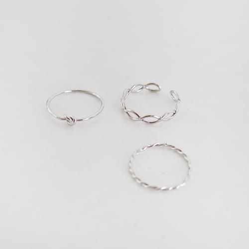 韓國空運 - 扭轉波浪造型戒指(3件組)