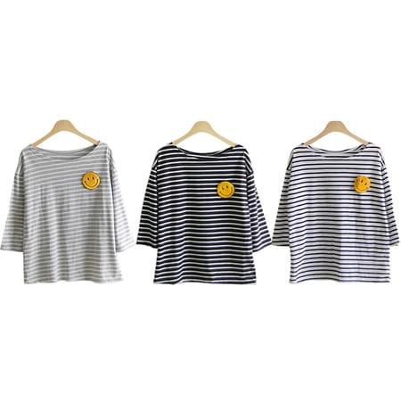 Waffle brooch set stripe shirt