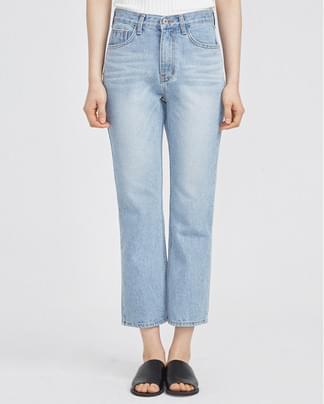 high waist boot-cut  light blue denim pants