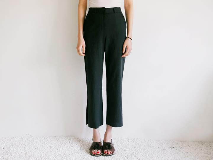 SLIT LINEN WIDE PANTS