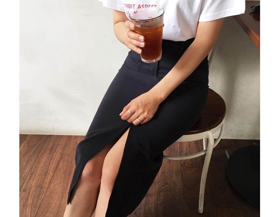 Made_bottom-107_slit cotton skirt (size : S,M)