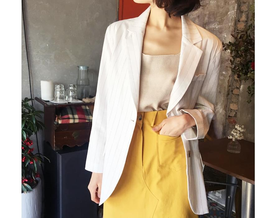 Smudge chalk linen jacket_M (size : free)