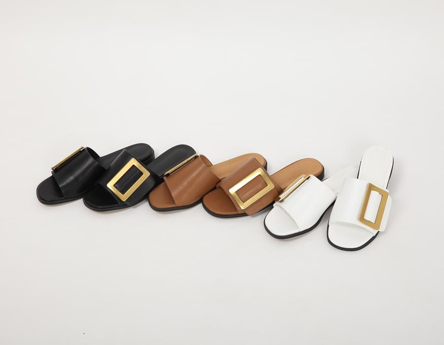 Cube buckle flat slipper_S (size : 225,230,235,240,245,250)