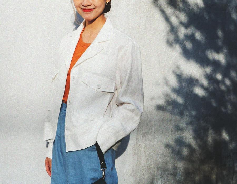 Pocket vintage linen jacket_M (size : free)