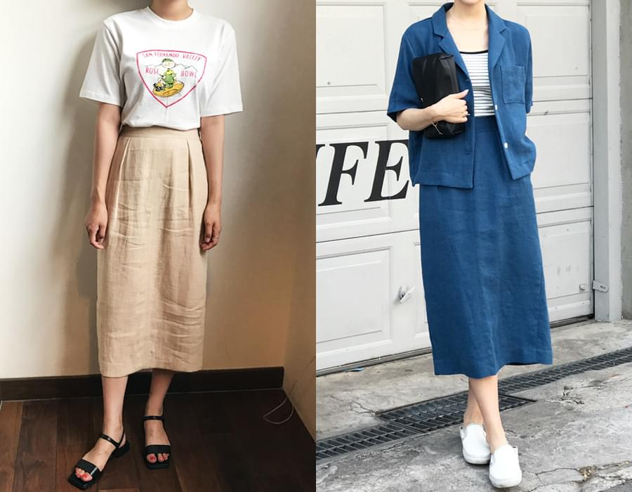 Must linen midi skirt_M (size : free)