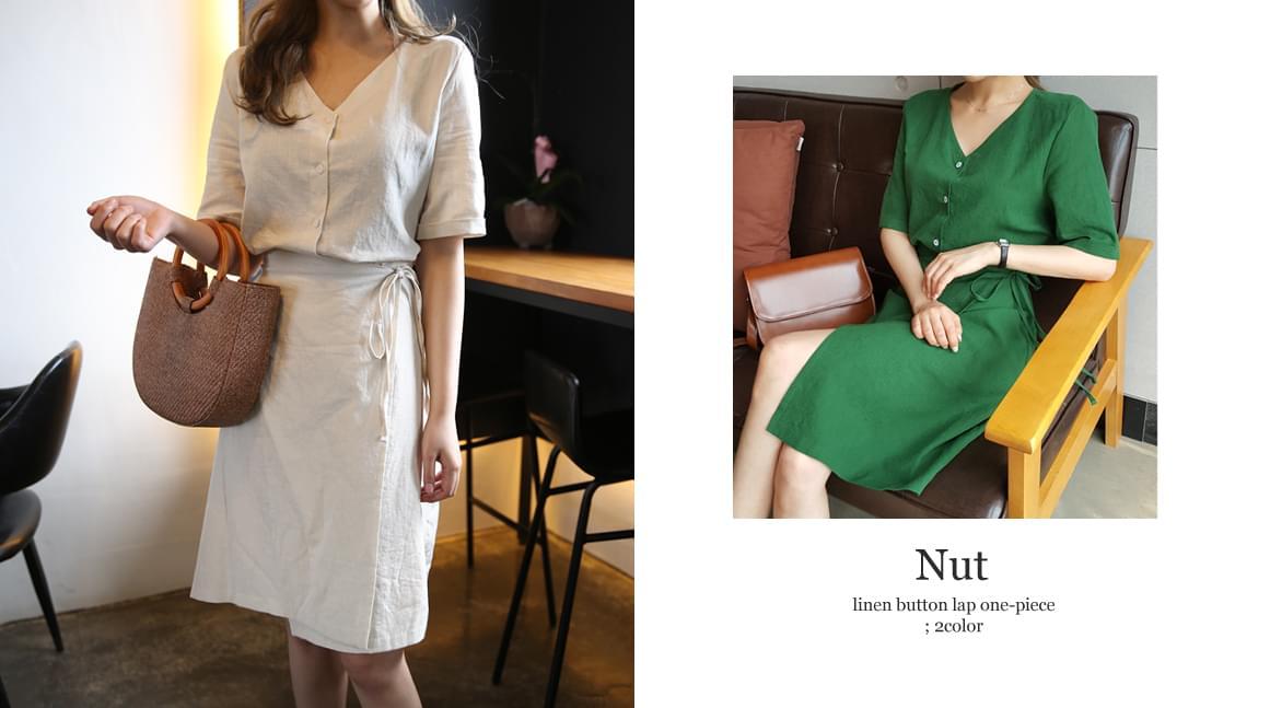 Nut Linen Wrap Dress