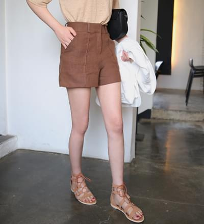 Pierced Linen Shorts - Navy S