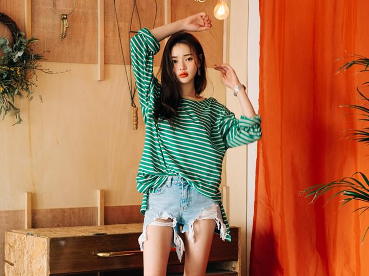 MELLOW WIDE SLEEVE STRIPE T
