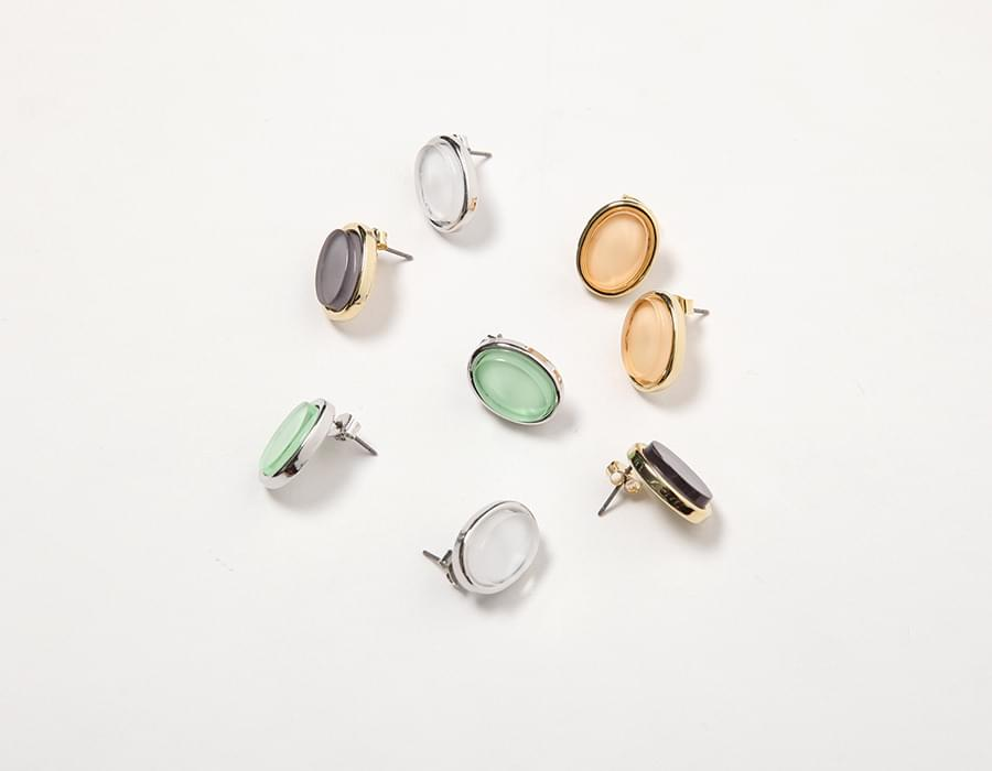 Aqua plastic earring_K (size : one)
