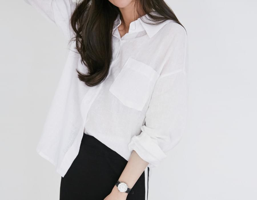 Plain linen basic shirts_M (size : free)