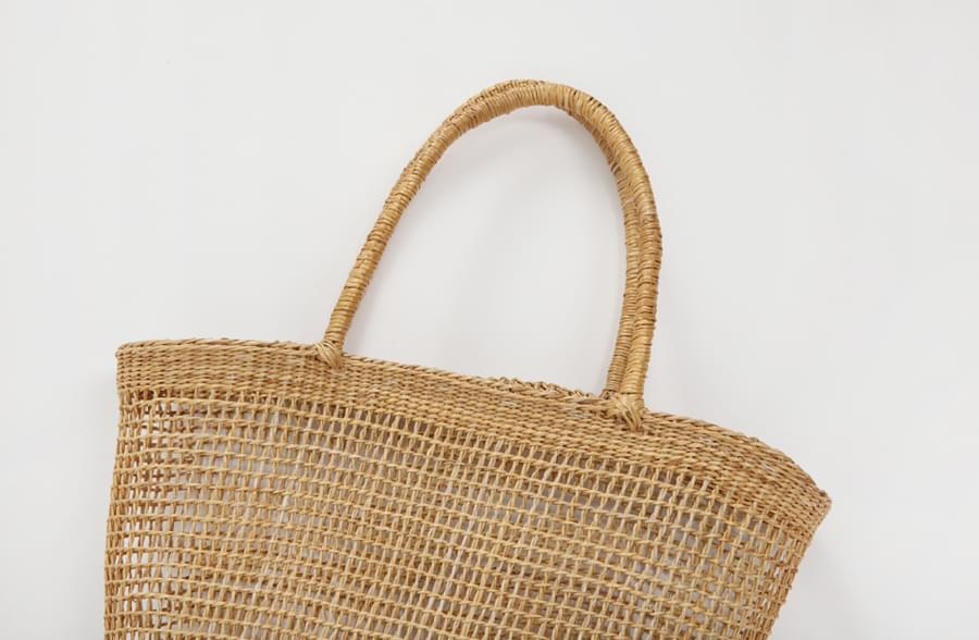 Simple straw tote bag_H (size : one)