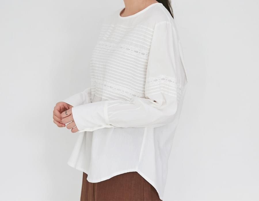 Owl lace cotton blouse_M (size : free)