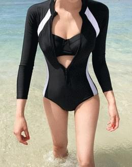 배색 swim suit