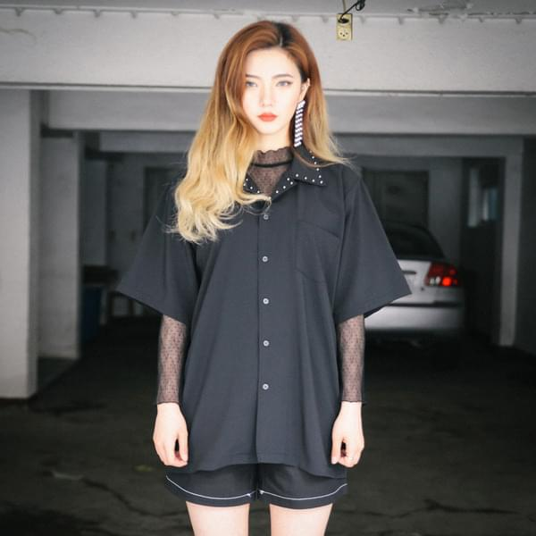 스터드 블랙 셔츠 (nb258)