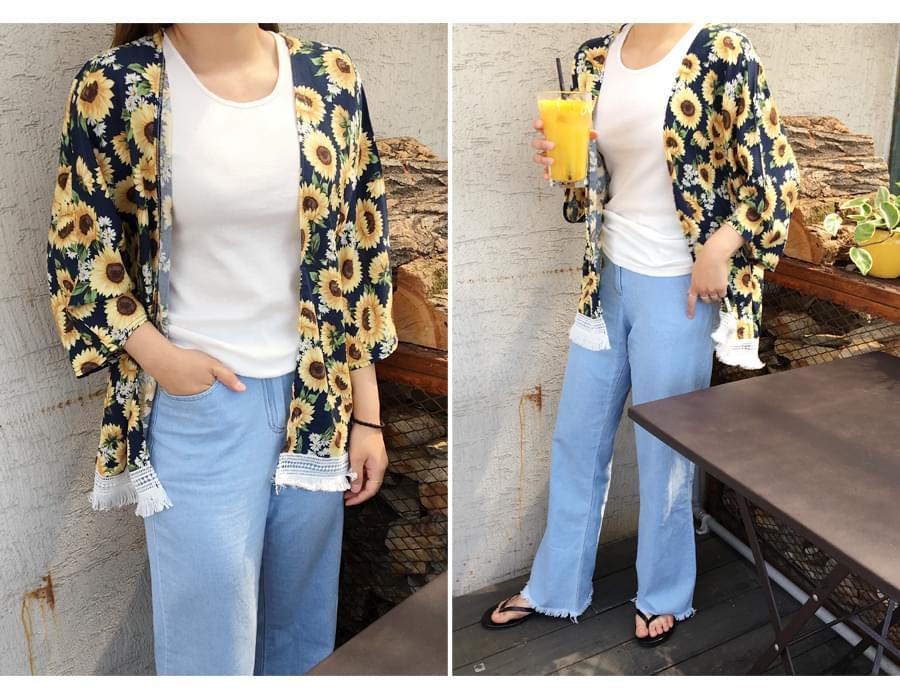 Sunflower robe cardigan_S (size : free)