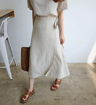 Jam Jam Linen Wrap Skirt - Beige ships same day