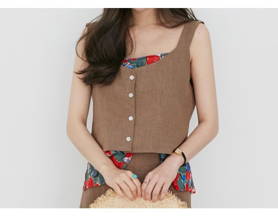 Sand linen button vest_K (size : free)