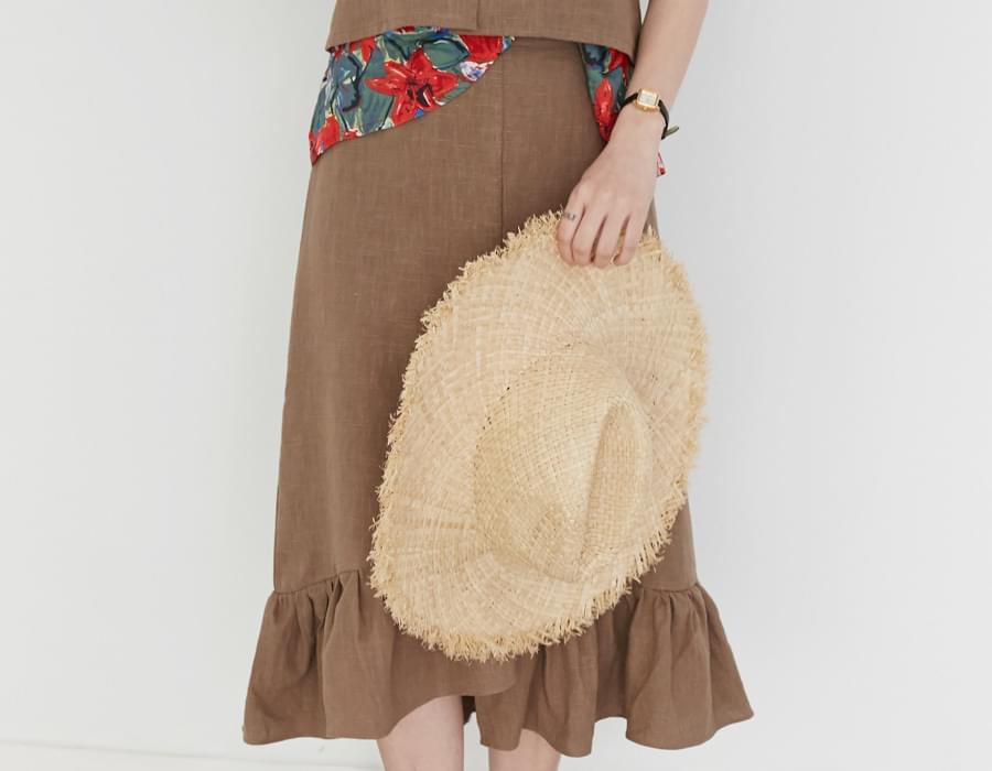 Sand linen frill skirt_K (size : free)