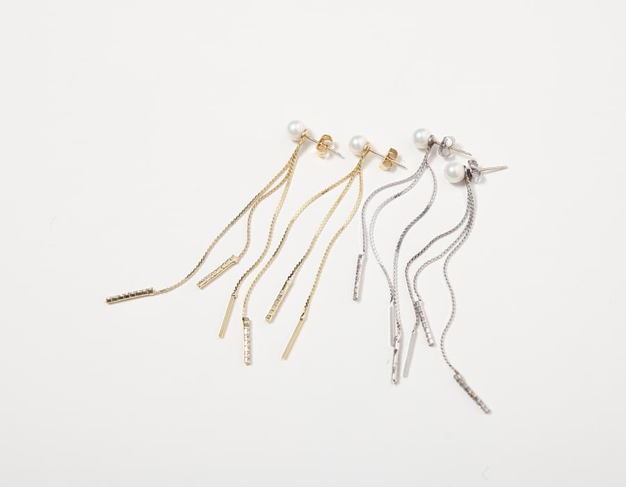 Pearl drop chain earring_S (size : one)