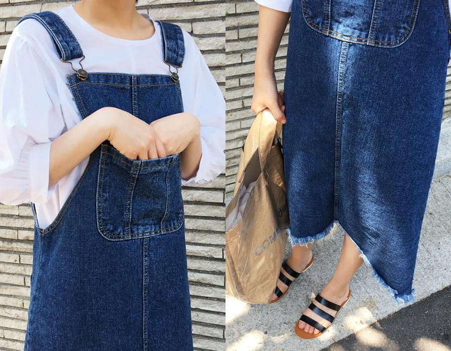 Unbal cutting denim overall_M (size : free)