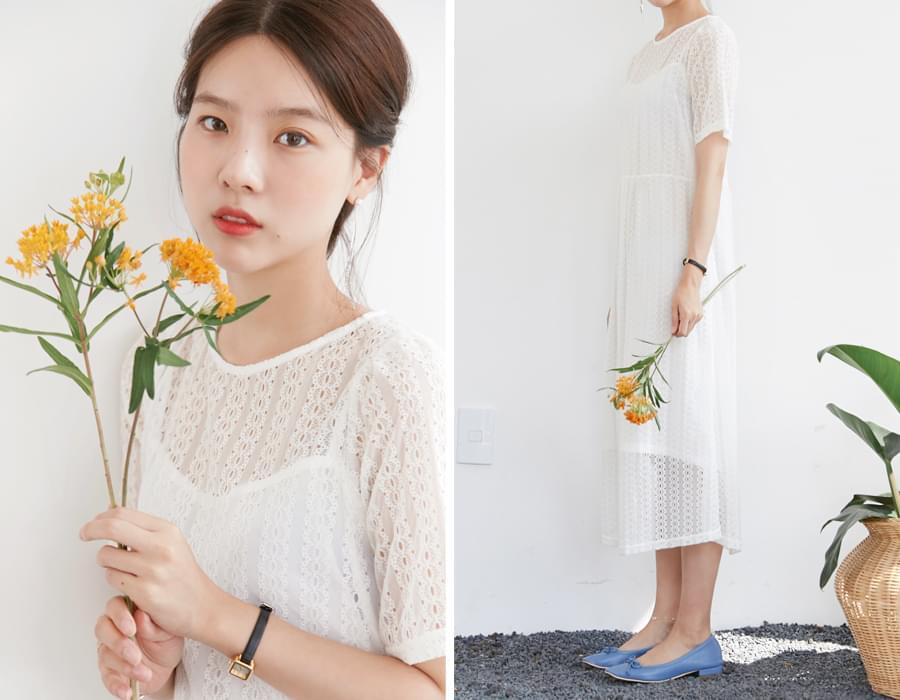 Dove lace long dress_S (size : free)
