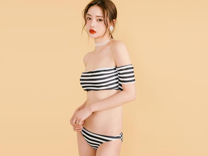 STRIPE OFF SHOULDER BIKINI
