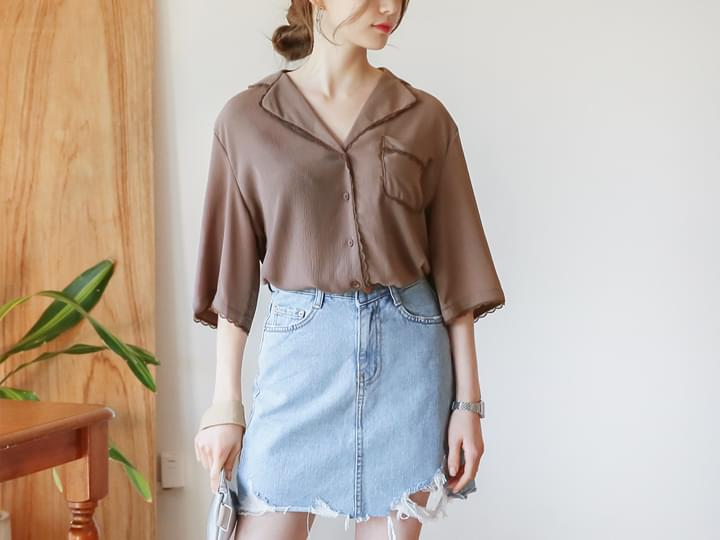 LACE POINT COLLAR 1/2 BLOUSE