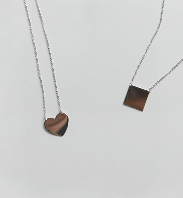 Silver flat pendant necklace(silver 925)