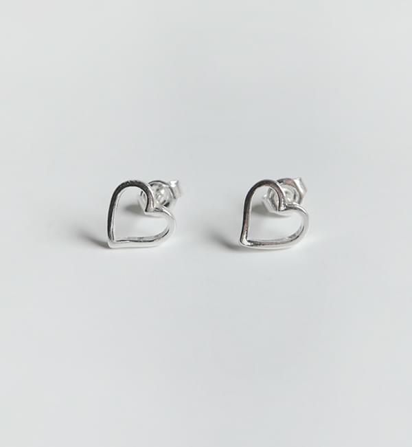 Silver simple heart earring(silver 925)