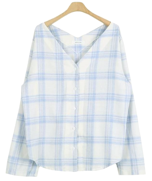 V neck check blouse