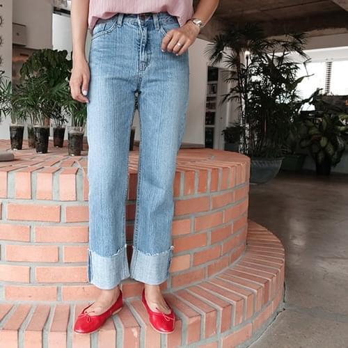 Bigone-denim roll-up pants jeans