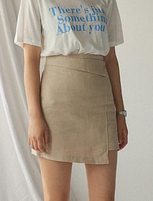 unbal detail mini skirt
