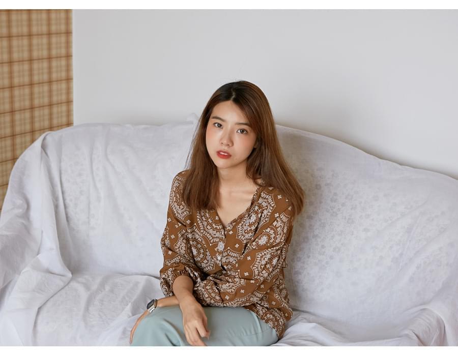 Bohemian paisley blouse_K (size : free)