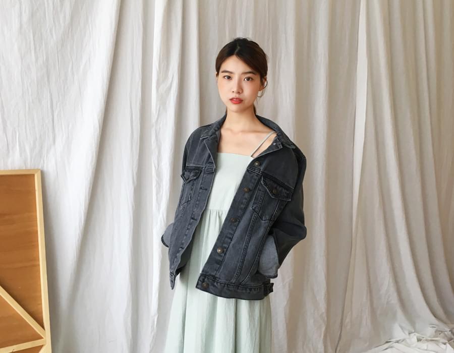 Autumn solid denim jacket_M (size : free)
