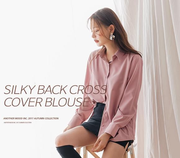 SILKY BACK CROSS COVER BLOUSEWITH CELEBRITY _