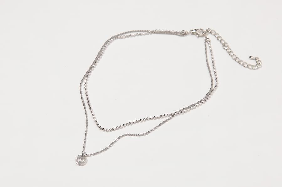 Double chain silver necklace_H (size : one)