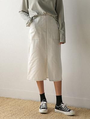 stitch slit banding skirt